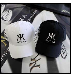 2015 Miura Golf Cap MB 001 Forged $ Miura Logo Hat White and Black S/M Set of 2