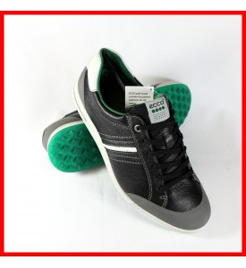 2015 New Ecco Mens Golf Street Retro - Black/Shadow White/Pure Green 40 41 42
