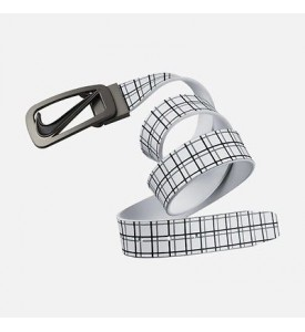 Nike Golf Signature Plaid Cutout II Leather Belt Reversible 32 34 36 38 40